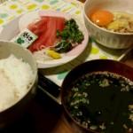 納豆・刺身定食@妻の手料理